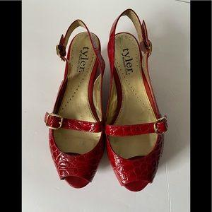 Red peep toe platform wedges